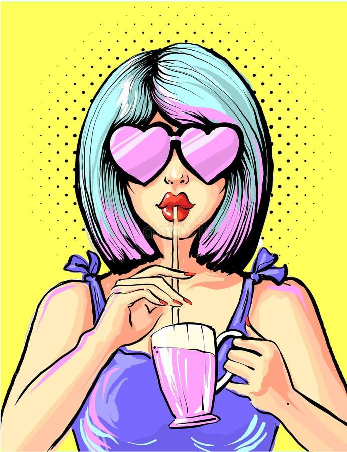 Trinkendes Cocktail der Pop-Arten-Frau in den Herzformgläsern lizenzfreie abbildung