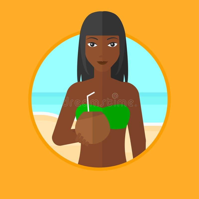 Trinkendes Kokosnusscocktail der Frau auf dem Strand stock abbildung