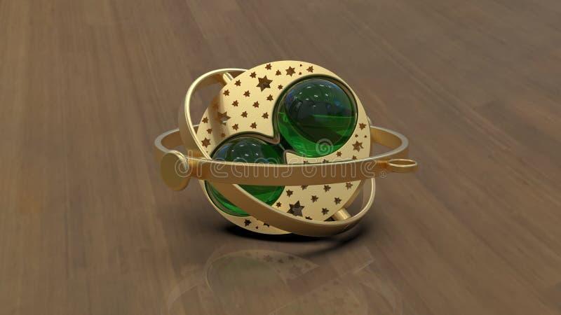 Trinket dourado e esmeralda, rendição 3d ilustração stock