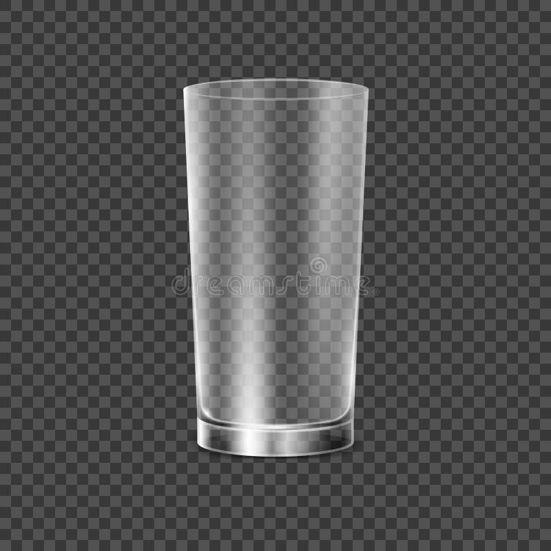 Trinkglasschale Transparente Vektor-Glas-Illustration Restaurantgegenstand für Getränkalkohol, Wasser oder irgendeine Flüssigkeit lizenzfreie abbildung