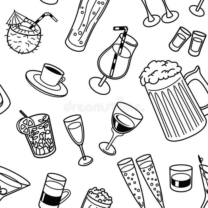 Trinkt nahtloses Muster lizenzfreie abbildung