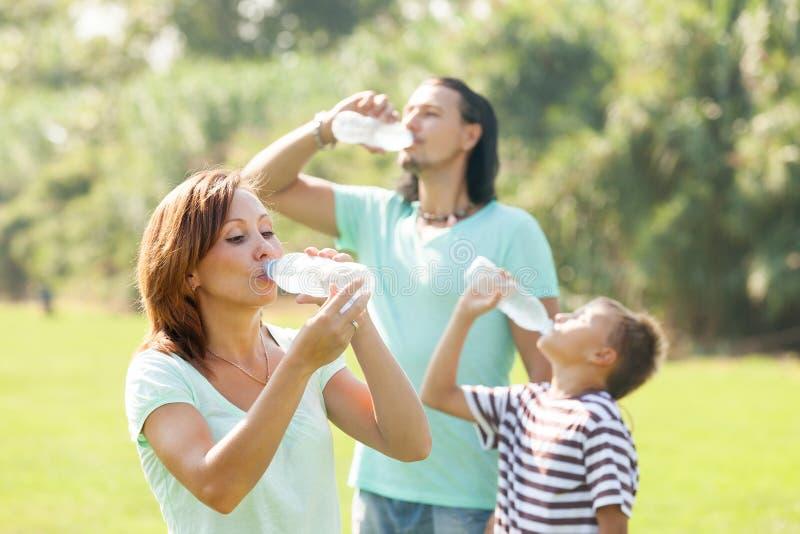 Trinkwasser der dreiköpfigen Familie lizenzfreie stockfotos