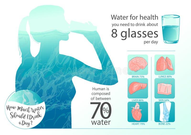 Trinkwasser der Vektorfrau lizenzfreie abbildung