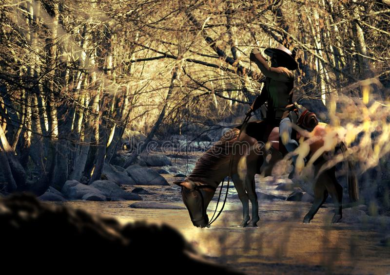 Trinkwasser des Cowboys und des Pferds vektor abbildung