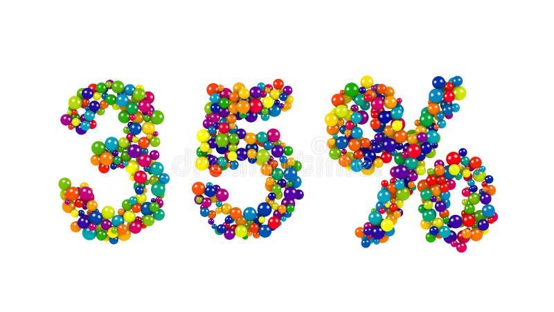 Trinta e cinco por cento assinam dentro cores festivas ilustração do vetor