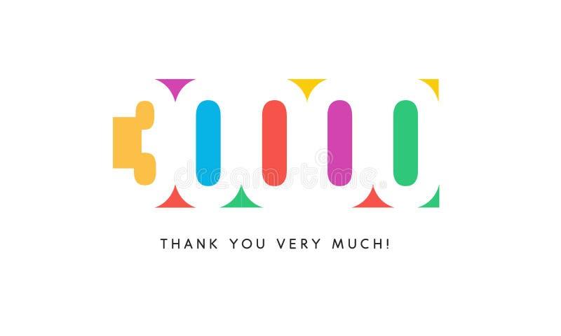 Trinta mil baner dos subscritores Logotipo colorido para o dia do aniversário ilustração royalty free