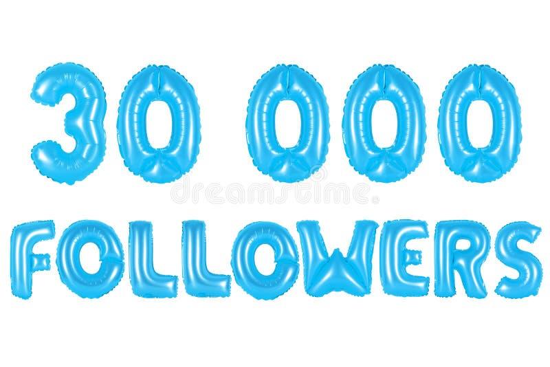 Trinta mil seguidores, cor azul ilustração do vetor