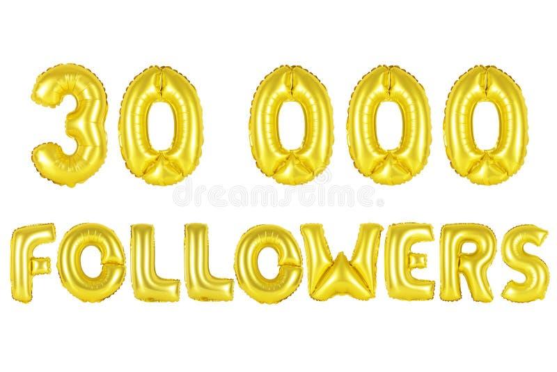 Trinta mil seguidores, cor do ouro fotos de stock
