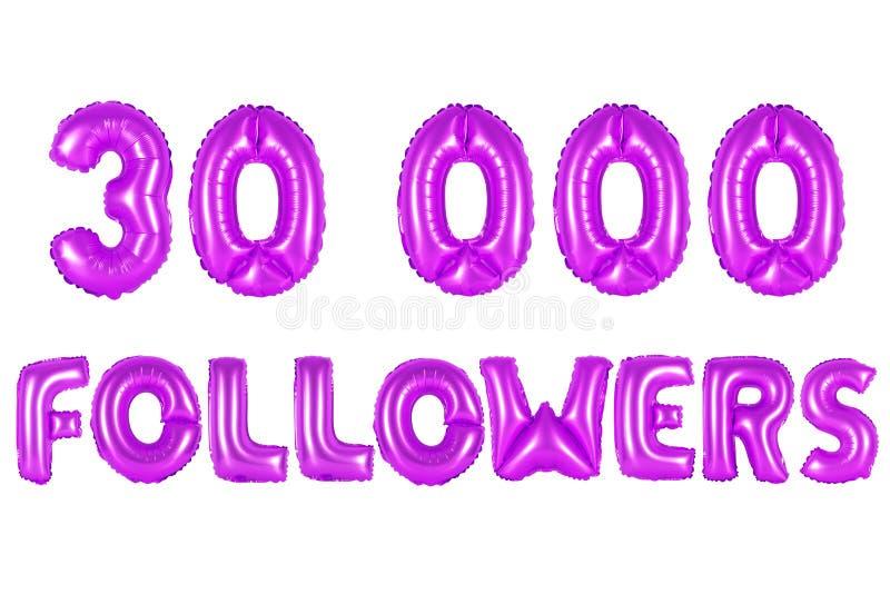 Trinta mil seguidores, cor roxa foto de stock royalty free