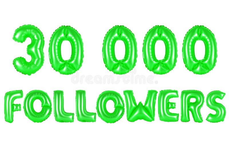 Trinta mil seguidores, cor verde imagem de stock