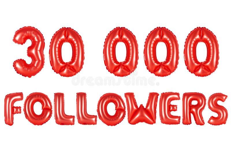 Trinta mil seguidores, cor vermelha imagem de stock royalty free