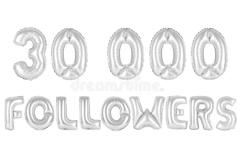 Trinta mil seguidores, cromam a cor cinzenta imagens de stock