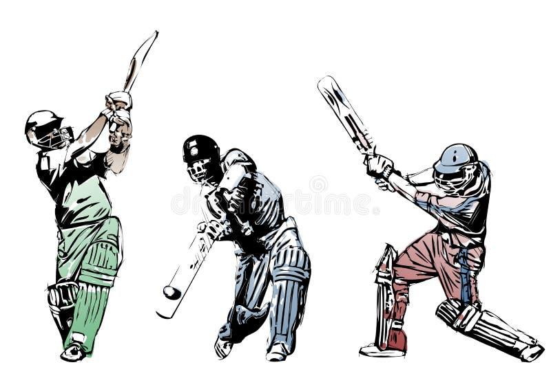 Trio 2 de cricket illustration de vecteur