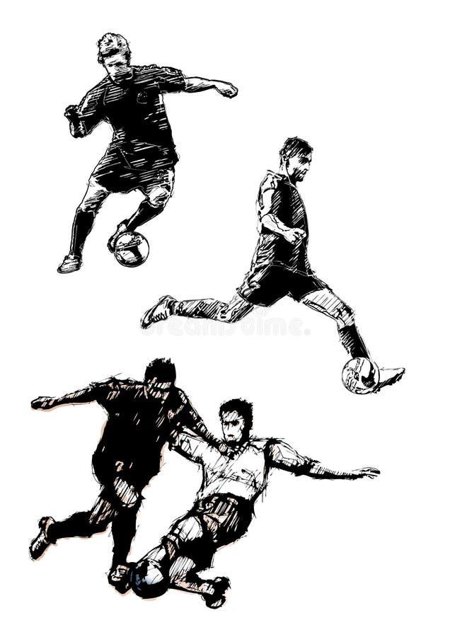 Trio 2 van het voetbal vector illustratie