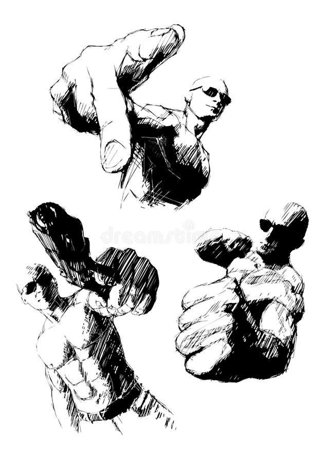Trio agressif illustration de vecteur
