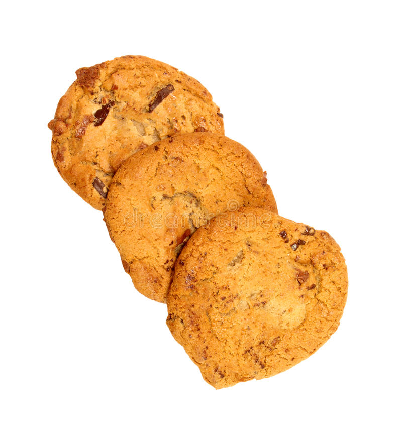 Trio Of Chocolate Chip Cookies stock photos