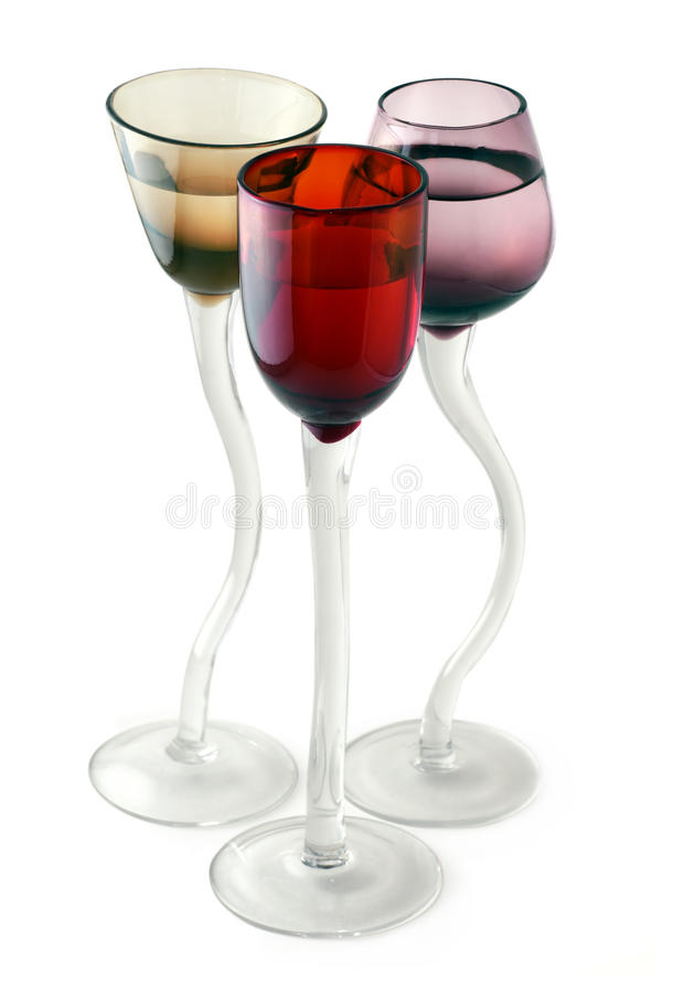Trio Of Colored Glasses Stock Images