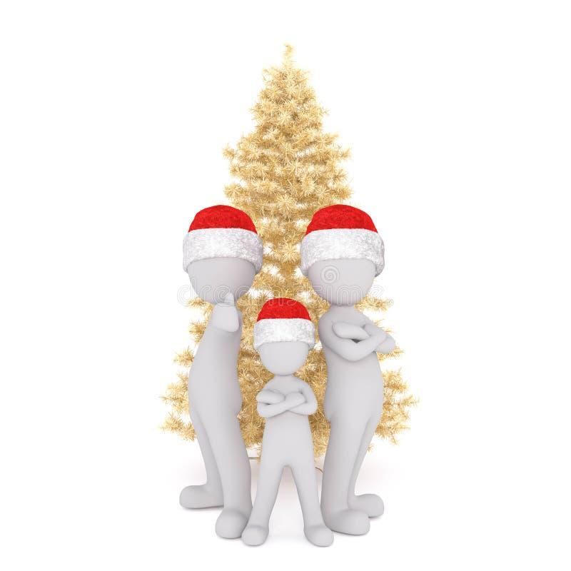 Trio of 3D figures standing around Christmas tree stock illustration