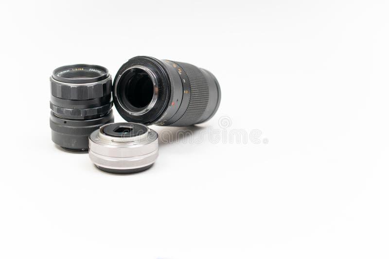 Trio d'objectif de caméra photos stock