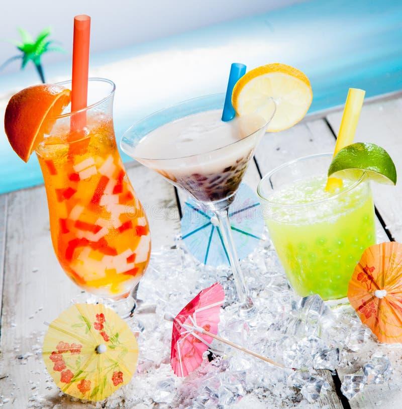 Trio de différents thés tropicaux de bulle photo libre de droits