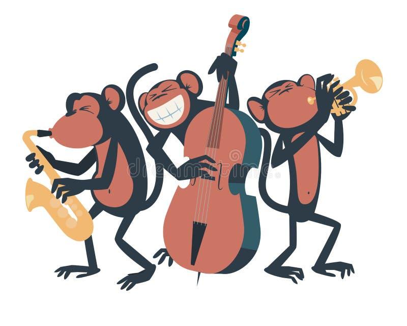 Trio de jazz de singe illustration de vecteur
