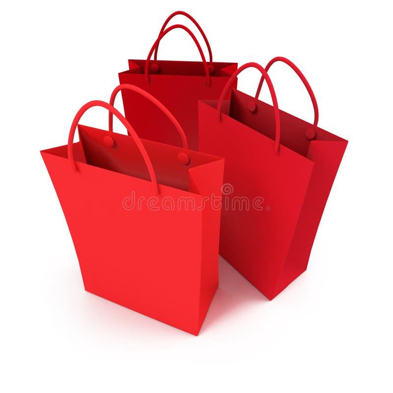 Trio de sacos de compra vermelhos ilustração stock