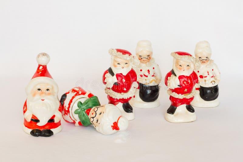 Trio de Santa & de Sra. Abanadores de Claus Vintage Salt & da pimenta fotografia de stock royalty free