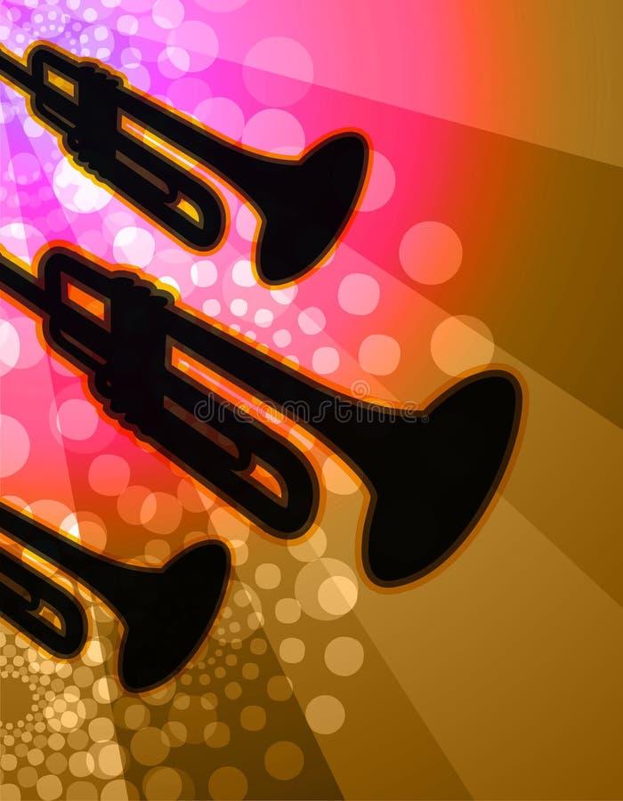 Trio de trompette - fond de boîte de nuit illustration stock