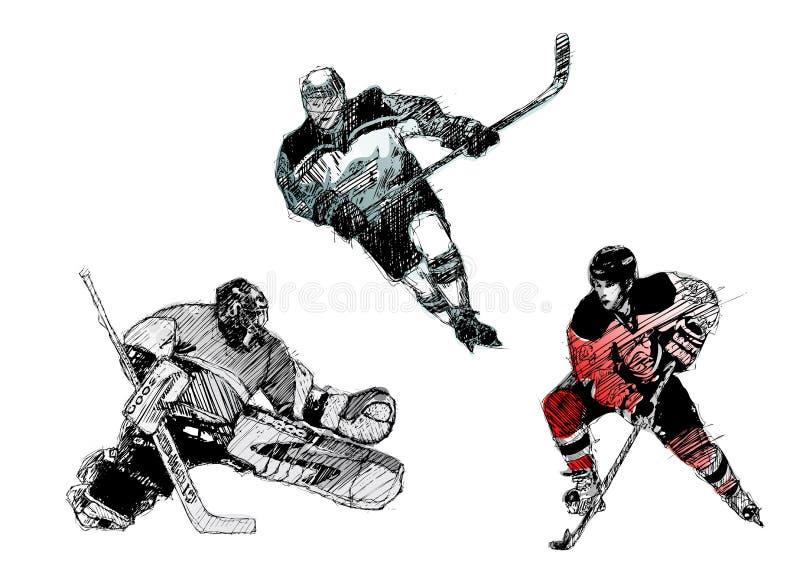 Trio del hokey di ghiaccio illustrazione vettoriale