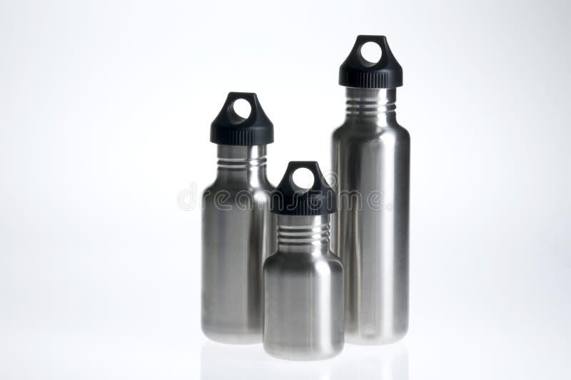 Trio della bottiglia di acqua fotografie stock libere da diritti