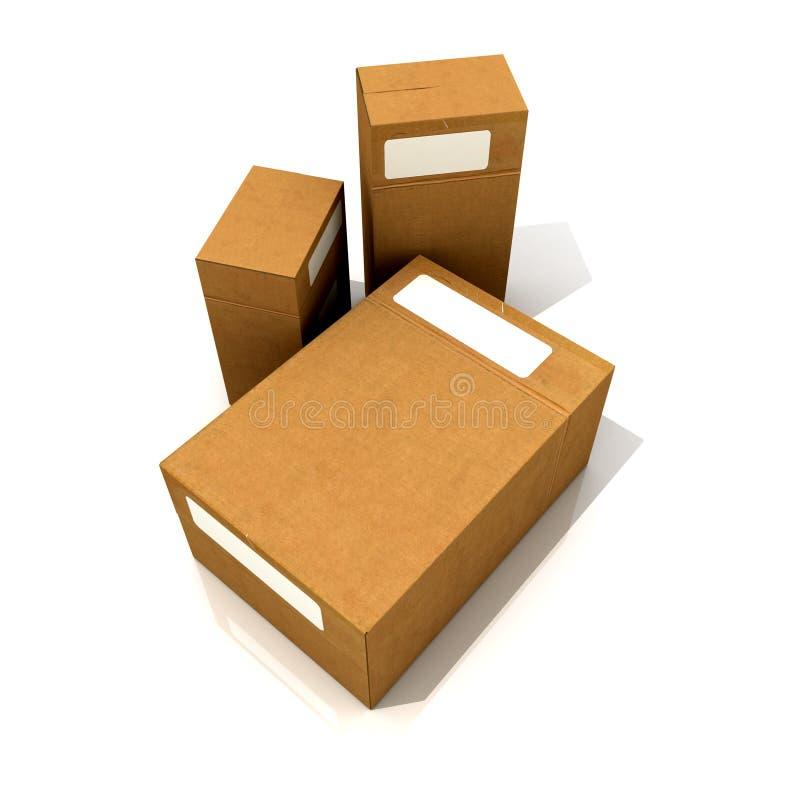 Download Trio des boîtes en carton illustration stock. Illustration du courrier - 8662260