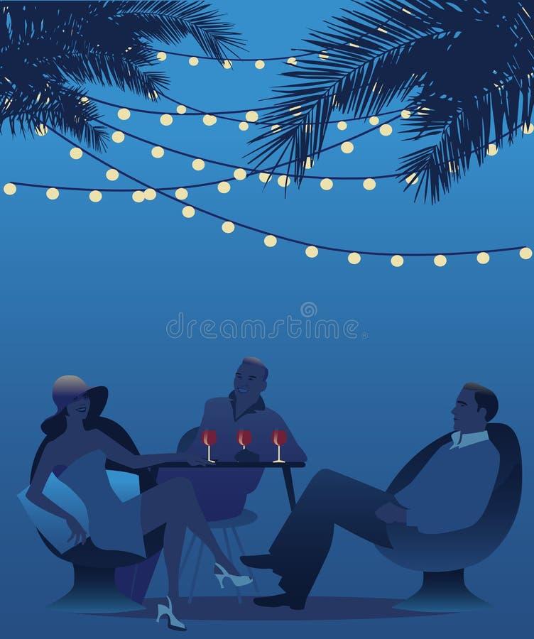 Trio die rode wijn drinken onder de palmen De scène van de nacht stock illustratie