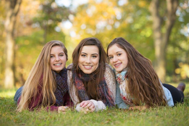 Trio dos amigos fotografia de stock
