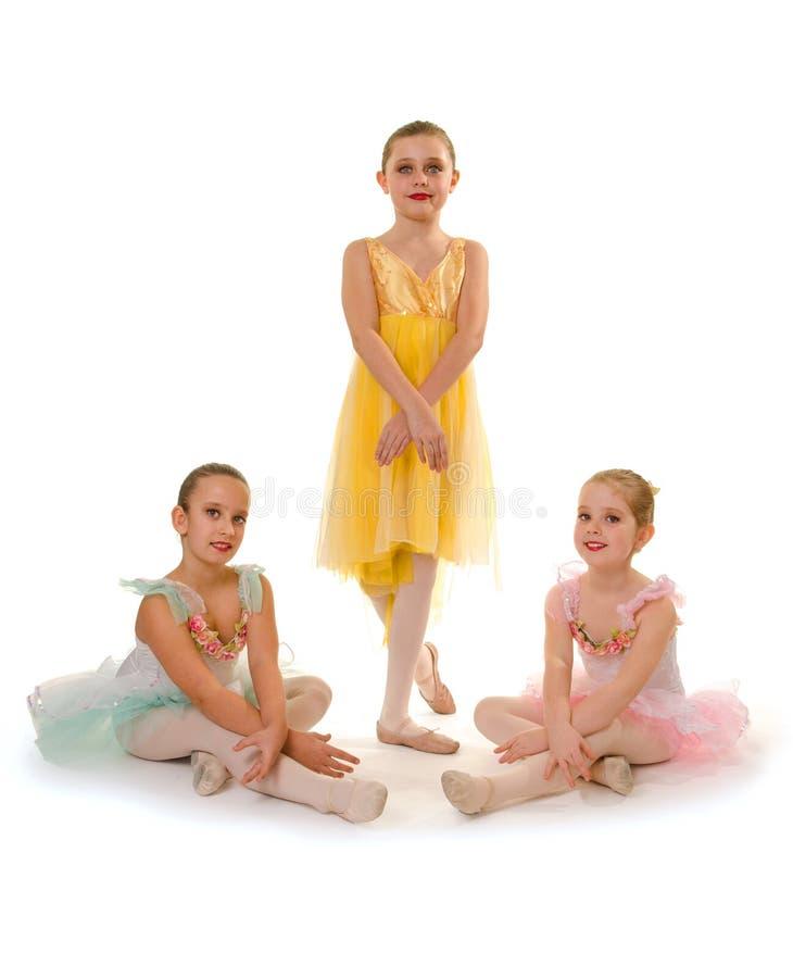 Trio för balettdansflickor royaltyfria foton