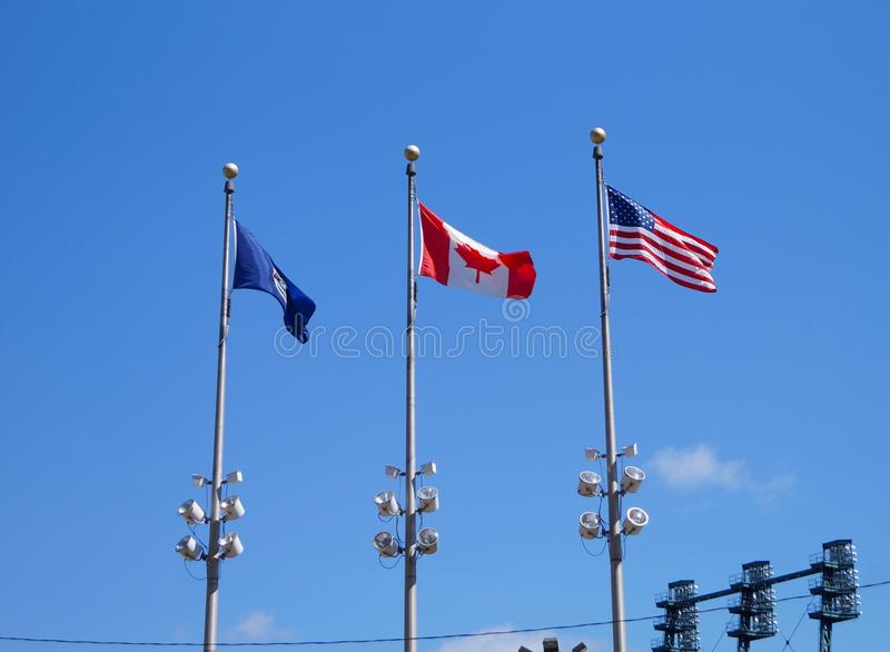 Trio of flags royalty free stock images
