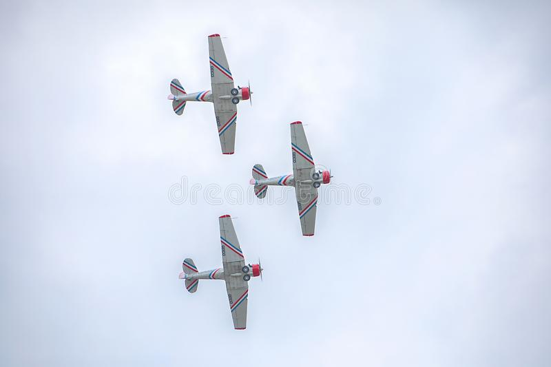 Geico Skytyper US Air Force Combat Planes Trio Flying In Formation Closeup stock images