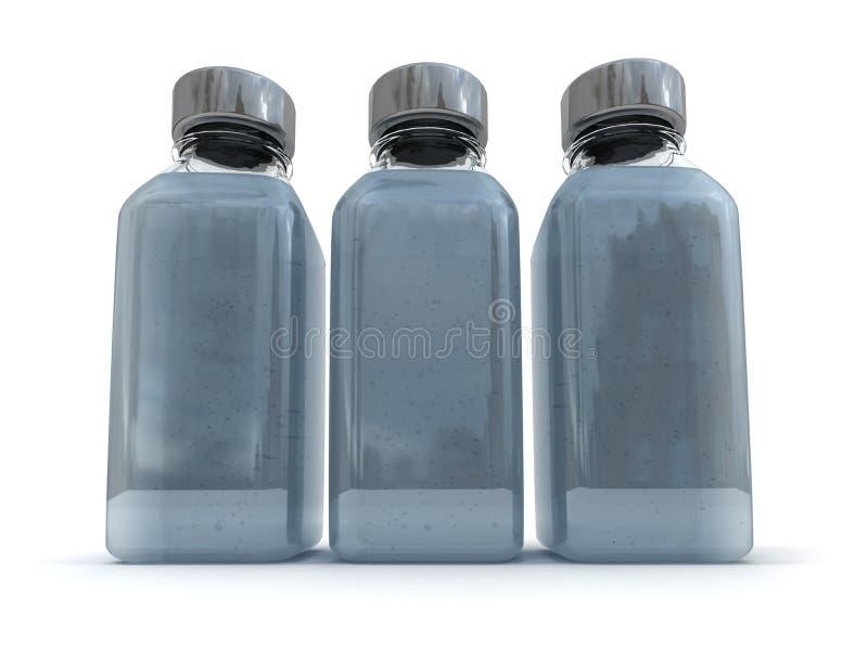Trio of grey bottles stock illustration