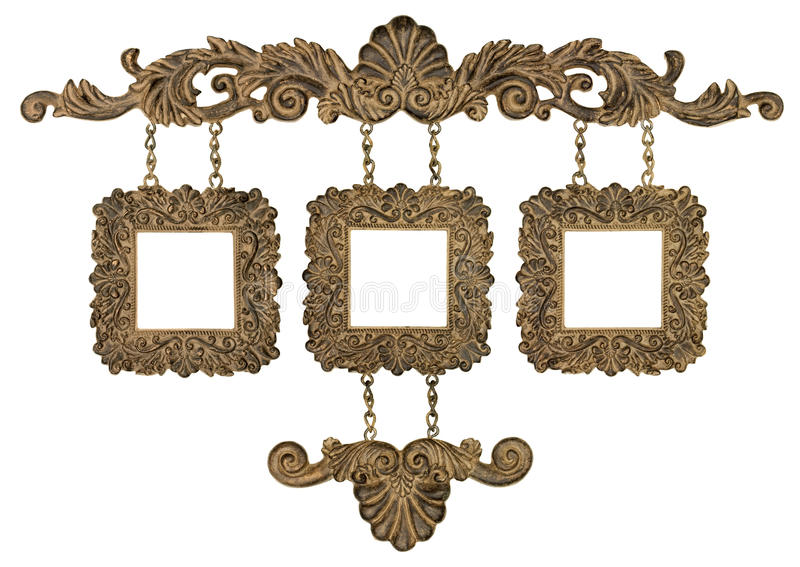 Trio hanging picture frames royalty free stock photo