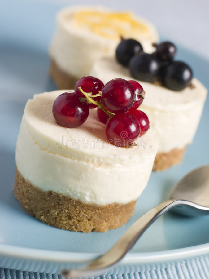 Trio of Individual Cheesecakes stock image