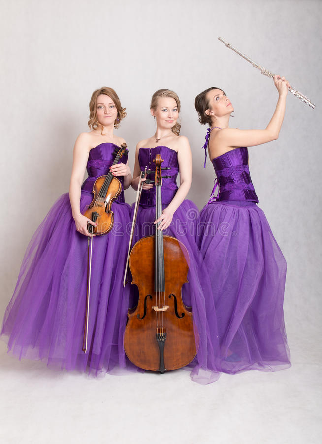 Trio with instruments. Portrait of a musical trio with instruments royalty free stock photos