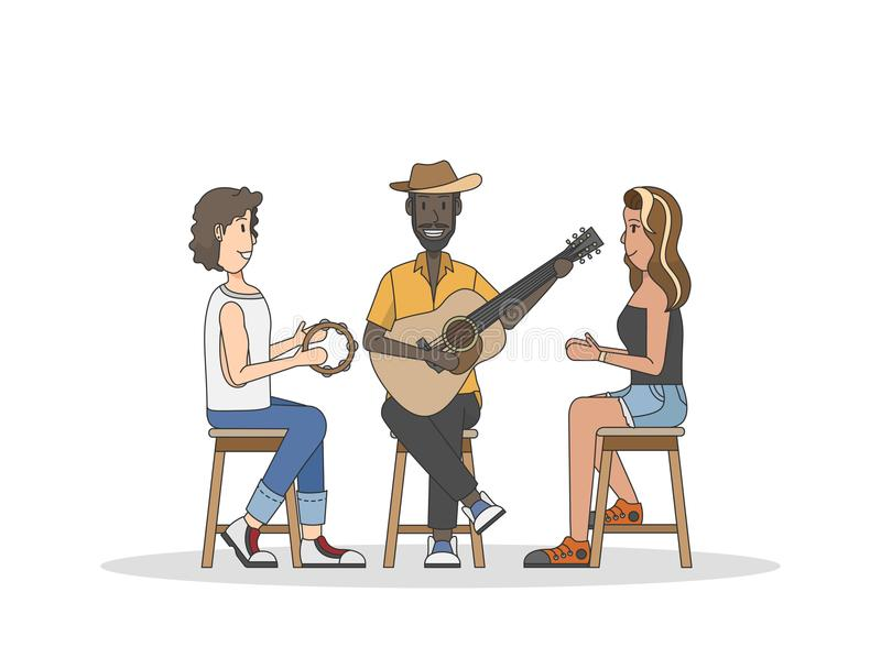 Trio of musicians performing the music stock illustration
