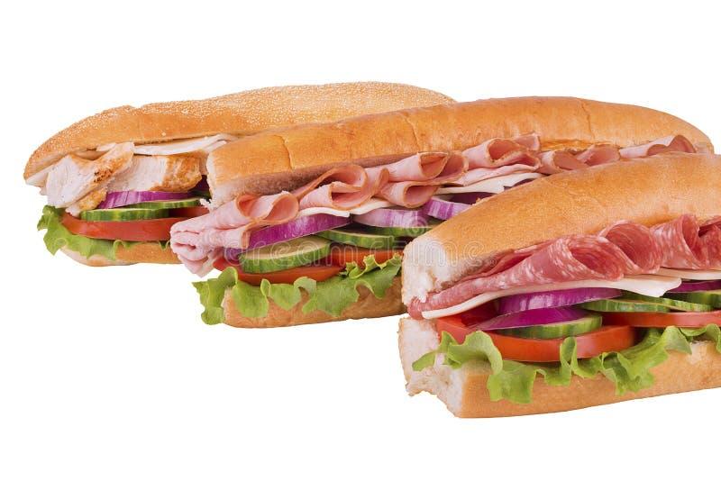 Trio of submarine sandwich royalty free stock image