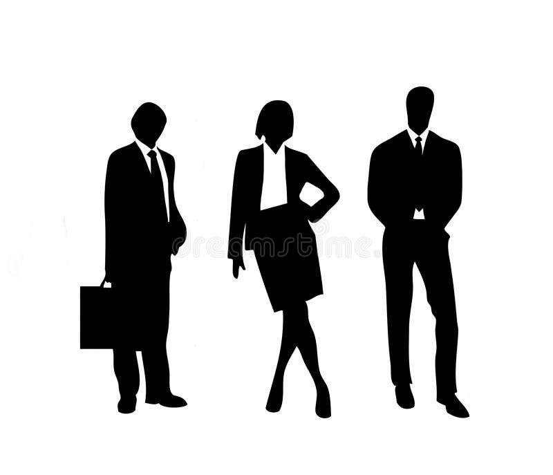 Trio van bedrijfsmensen zeker in het succes stock foto