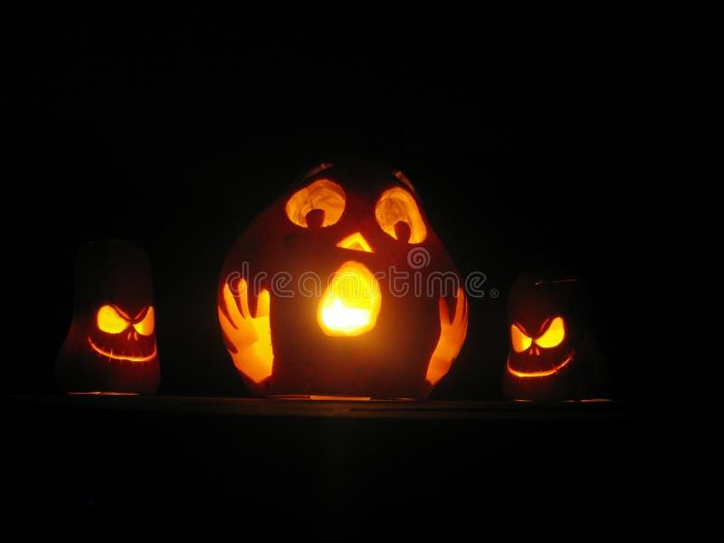 Trio van de pompoenen van Halloween stock fotografie