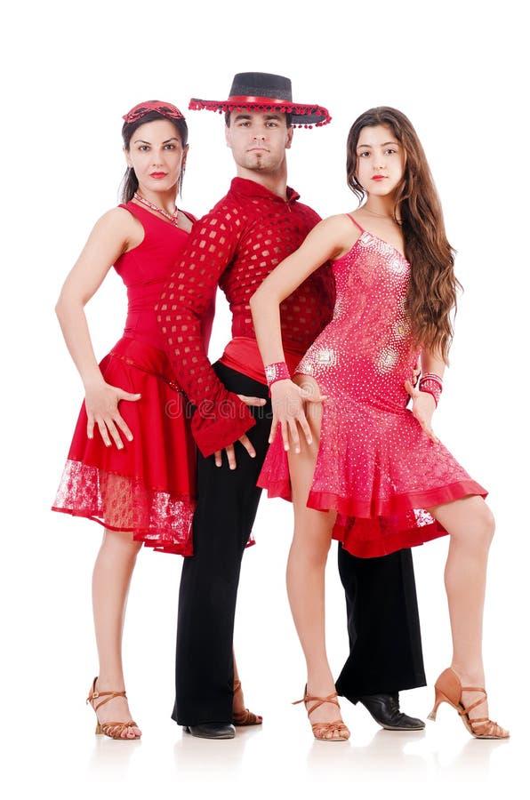 Trio Van Geïsoleerde Dansers Royalty-vrije Stock Afbeeldingen