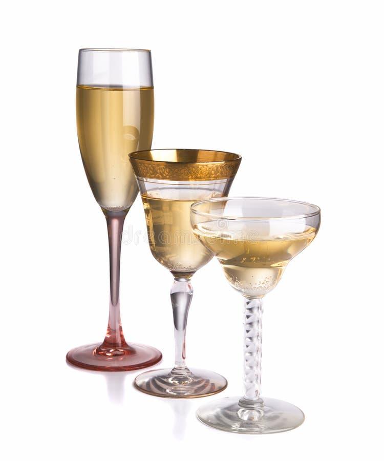 Trio van verschillende champagneglazen royalty-vrije stock afbeelding