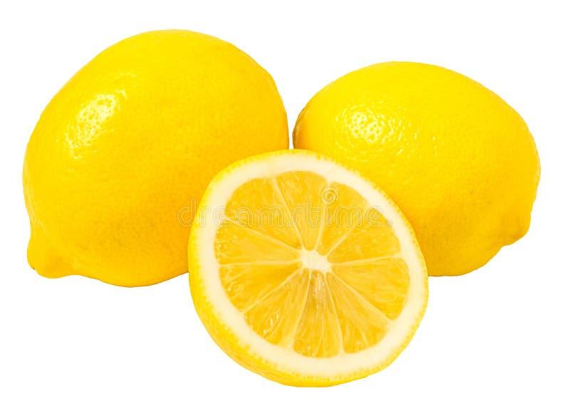 Trio verse gele die citroen op witte achtergrond wordt geïsoleerd royalty-vrije stock foto