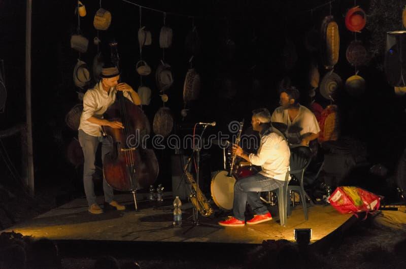 Trio von den Musikern, die Jazz spielen lizenzfreie stockfotos