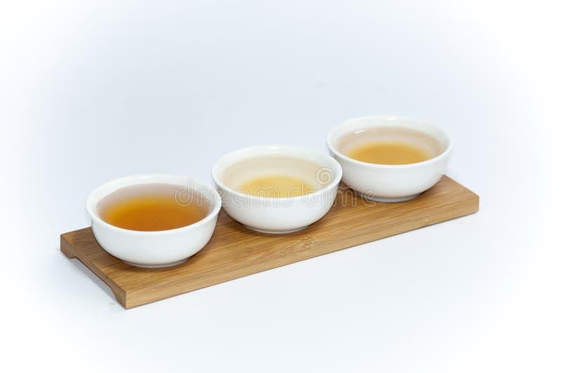 Trio of white tea royalty free stock photography