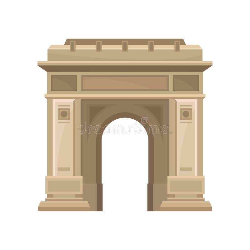 Triomfantelijke Boog in Boekarest, Roemenië Historische architectuur Beroemde toeristenaantrekkelijkheid Vlak vectorelement voor  royalty-vrije illustratie